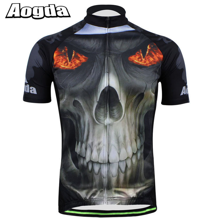 Prix pour AOGDA Marque Hommes VTT Bicicleta Vêtements Ropa Ciclismo Maillot Fire Eye Crâne Raod Vélo Chemise Vtt Vélo Jersey