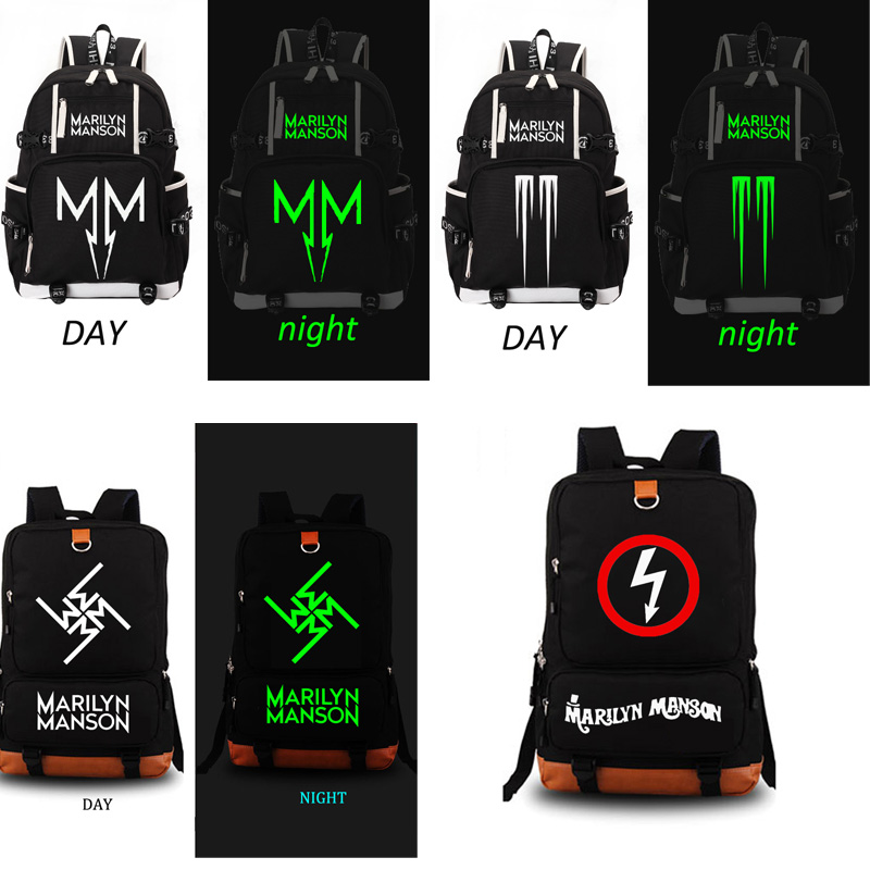 Marilyn Manson Rock Band sac d'école noctilucous sac à dos étudiant sac d'école cahier sac à dos quotidien-in Sacs d'école from Baggages et sacs    1