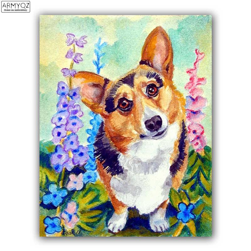 5d diy алмаз вышивка вельш корги собака 5D DIY алмазные живопись Стразы вышивки крестом Алмазная мозаика стены наклейки