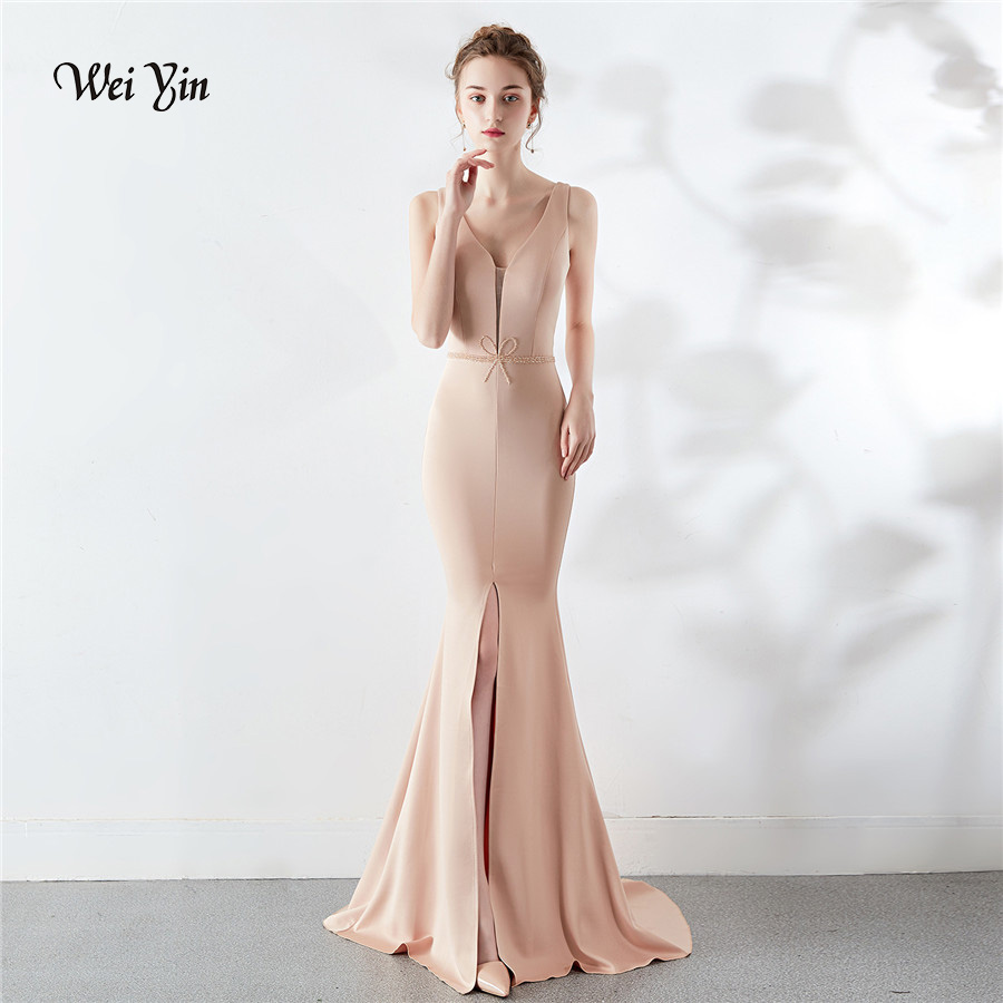 Wei Yin Robe De Soiree 2019 New Long Blue White Formal Evening Dress Crystal Elegant Mermaid V Neck Backless Party Gowns WY1657