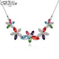 Wholesale Bohemian Crystal Flower Necklace Made With Austria ELements Women Fine Jewelry