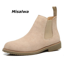 Misalwa Luxury Chelsea Boots Men Classic Simple Suede Leather Winter Ankle Height Increased Flat High Top Mens Dress