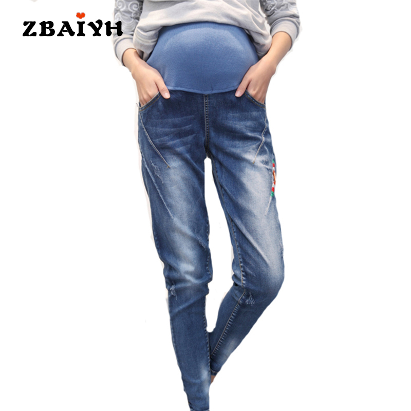 цены на Maternity pants 2017 Spring Jeans for pregnant women denim Pants Pregnancy haren pants clothes elastic high waist Jeans AYF-K004