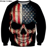 PLstar Cosmos 2018 Newest Fashion Men Women Long Sleeve Outerwear American Flag Skull Print 3d Sweatshirts