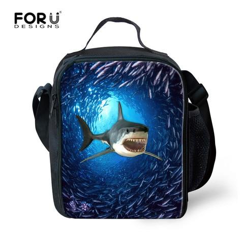 Bolsa do Piquenique Forudesigns Tubarão Engraçado Almoço Portátil Bolsas Térmicos Isolados Lunchbags Mulheres Filhos Tote Escola Lancheira Alimentos