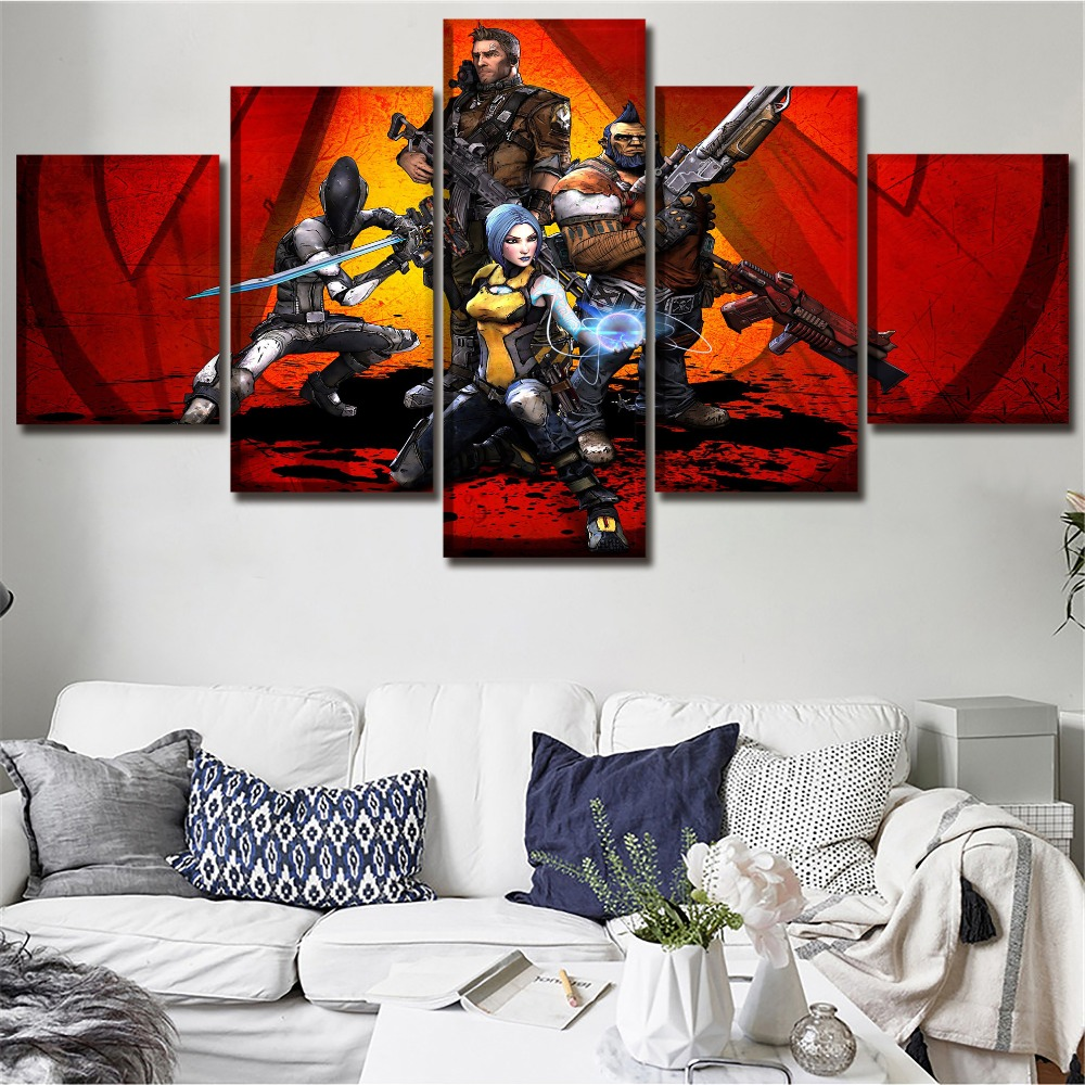 Borderlands 2 Game Home Print Poster Modern Decor HD Print Canvas Printed 5 Pieces Painting Wall Art Canvas Living Room Artwork image