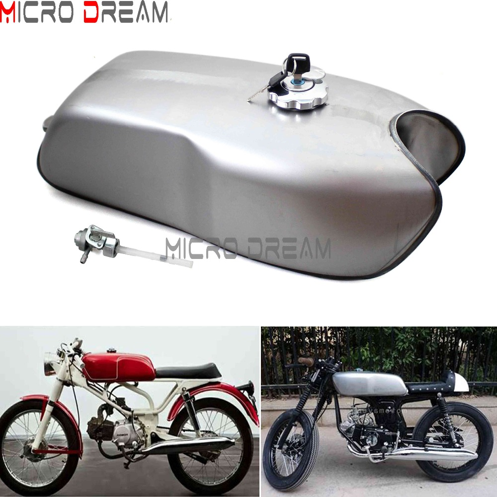 Unpainted Vintage Motorcycle 9L / 2.4Gal Fuel Tanks Cafe Racer Steel Gas Oil Tank Universal For Honda Suzuki Yamaha Kawasaki BMW universal cafe racer cnc rearsets foot peg footrest for bmw honda cb kawasaki kz suzuki gt triumph yamaha xvs