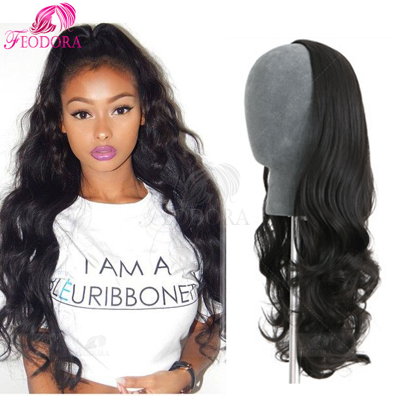 Hair Extension Half Wig Virgin Brazilian 3 4 Human Hair Half Wigs Wavy 7A  No Lace Wig For Black Women Customized Human Hair Wigs-in Human Hair Lace  Wigs ... 00a78171d7c0