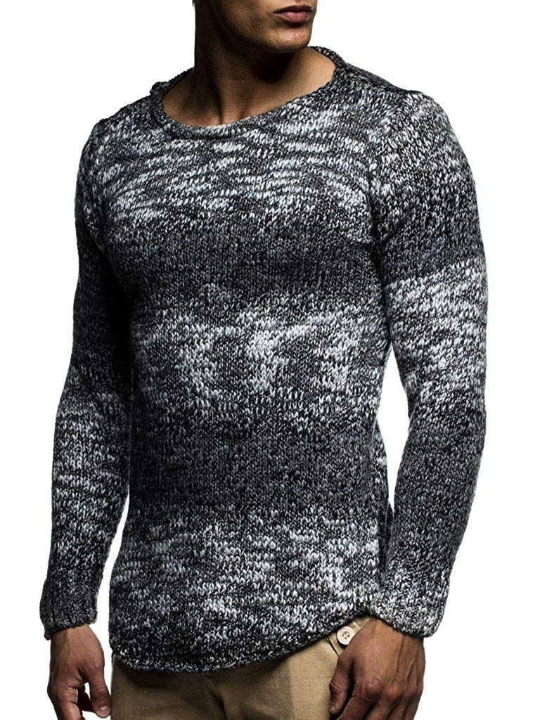 ZOGAA 2019 Causal Color Matching Cardigan Men Solid O-Neck Mens Pullover Sweaters Coarse Wool Sweater Men 3 Colors