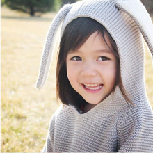 Children Sweaters Rabbit Ears Boys Girls Sweater with Hooded Wool Cotton Knitwear Winter Infant Sweater