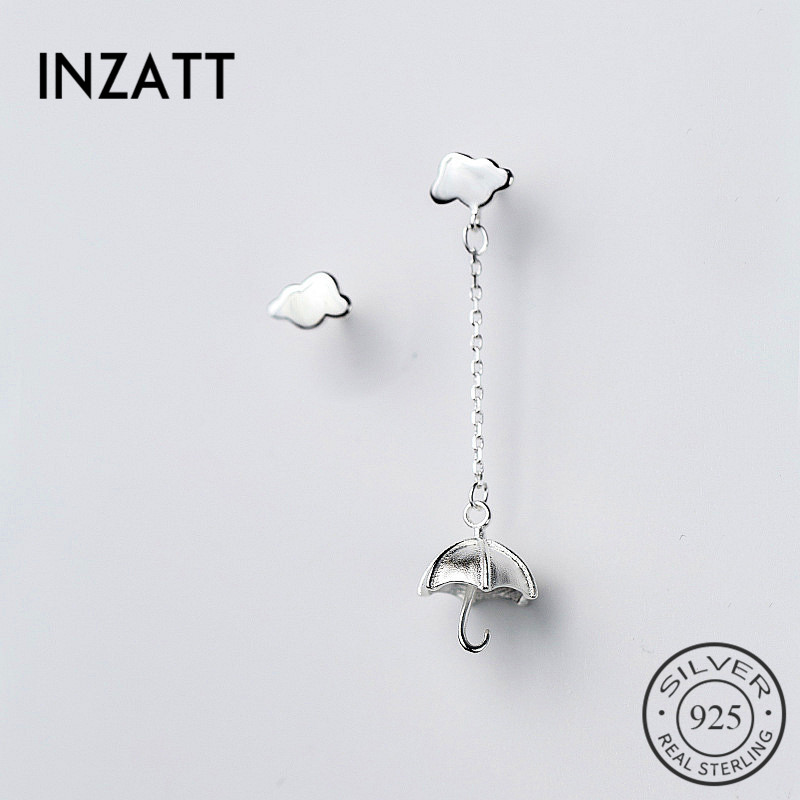 INZATT Asymmetry 925 Sterling Silver Chain Tassel Personality Umbrella Cloud Dangle Drop Earrings Fine Jewelry For Women PartyINZATT Asymmetry 925 Sterling Silver Chain Tassel Personality Umbrella Cloud Dangle Drop Earrings Fine Jewelry For Women Party