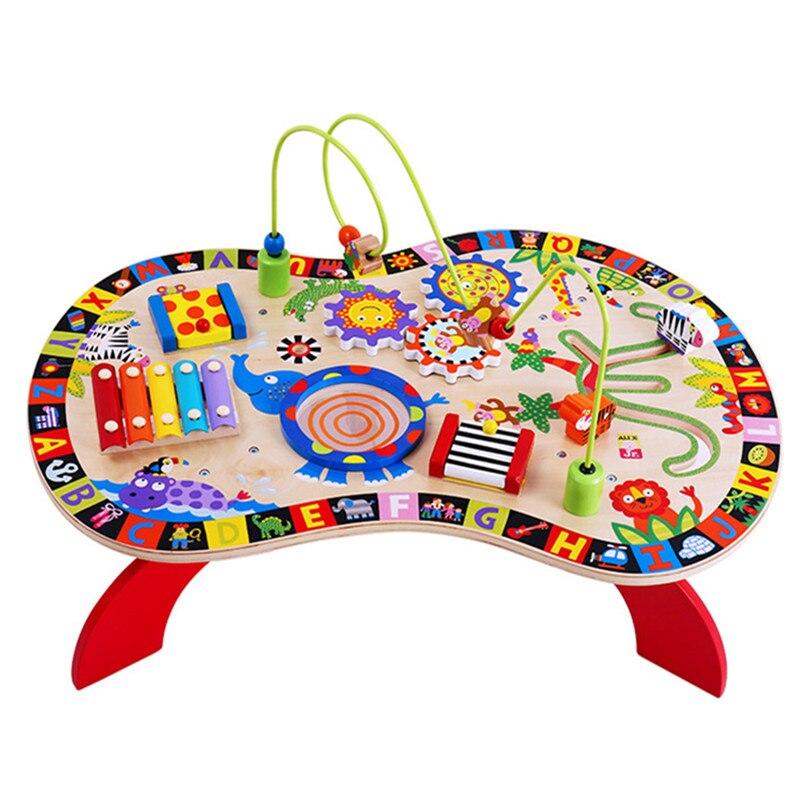 Детские игрушки 8 в 1 музыкальный инструмент бусы лабиринт деревянные игрушки звук и играть занят стол весело активности станции для обучаю