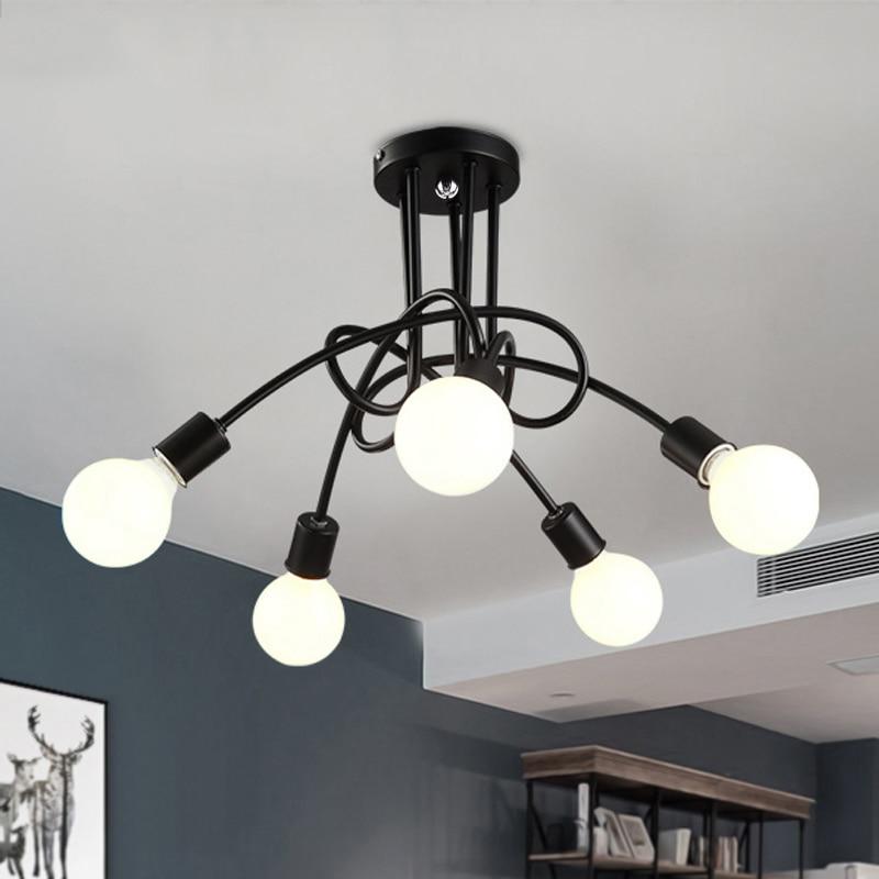 Vintage ceiling lights luminaria light lustre iron pipe for Iron pipe ceiling light