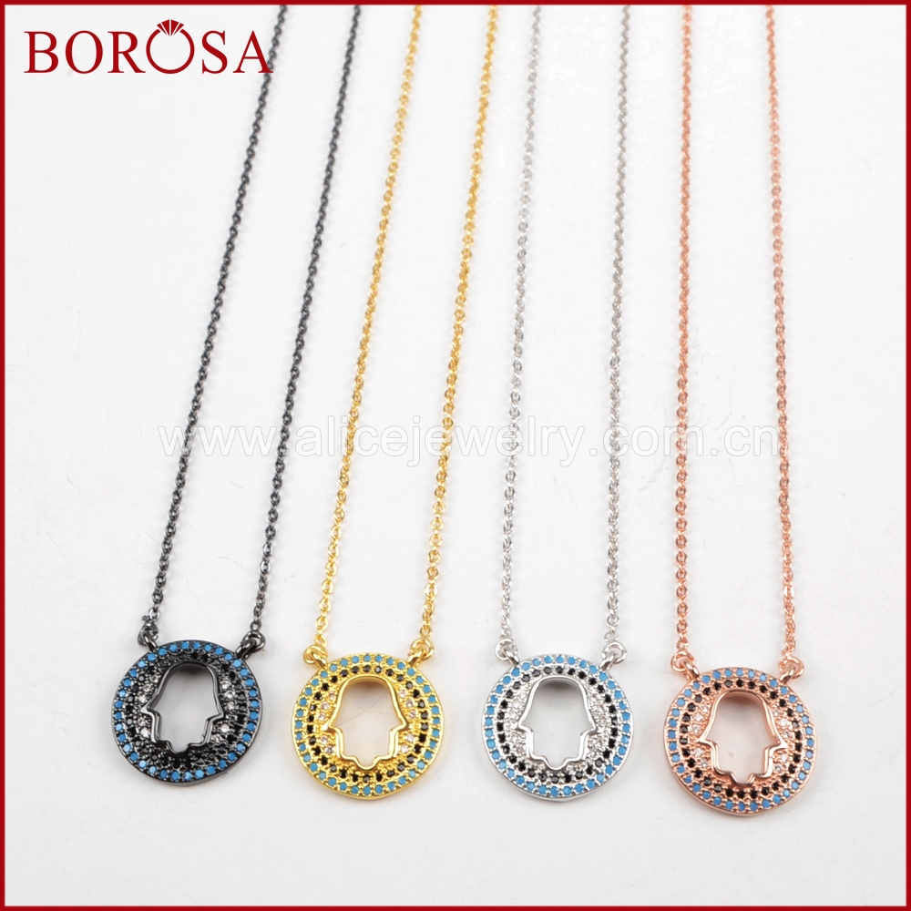BOROSA Fashion Hamsa Druzy Pendants Necklaces CZ Micro Pave Round Hollow Hamsa Hand Connector Necklace for Women Jewelry WX500