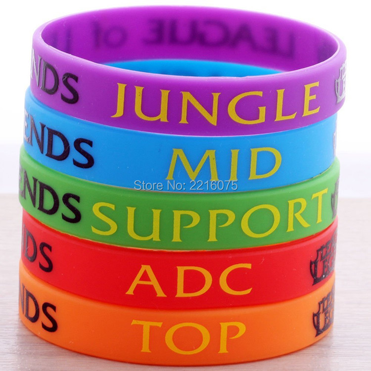 50pcs jungle mid support adc top lol league of legend silicone wristband rubber bracelets free shipping - Support Our Troops Silicone Bracelet