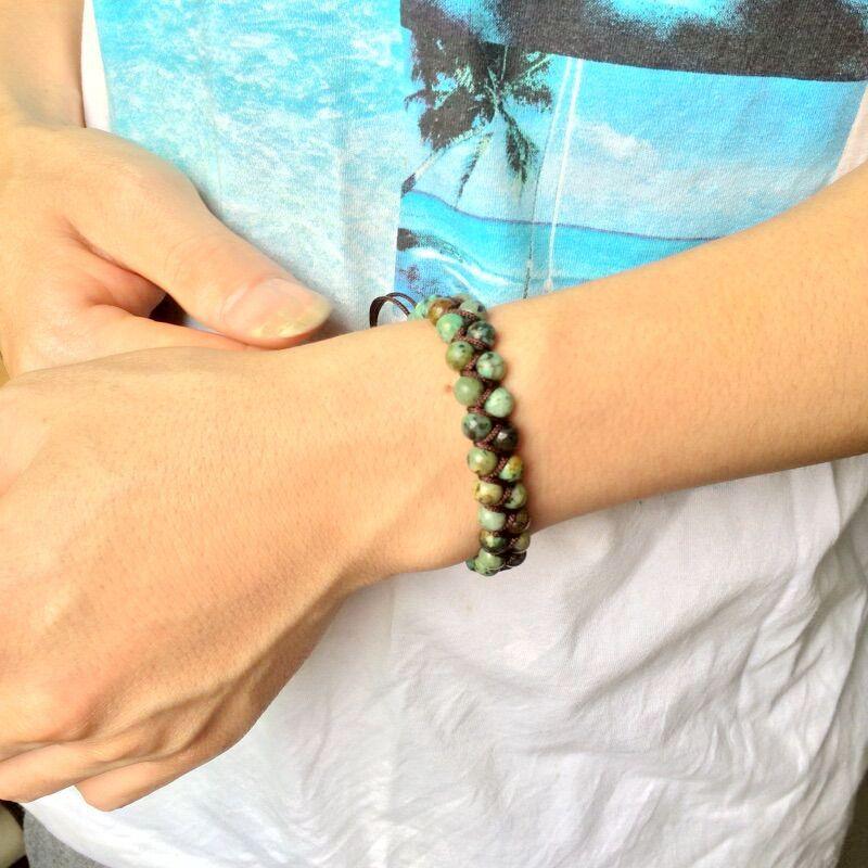 Men Bracelet Cool African Stone Beads Braided Cuff Bracelet Handmade Friendship Bracelets Mens Charm Bracelet Jewelry