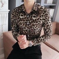 Высококачественная Мужская рубашка, новинка, приталенная Повседневная рубашка с леопардовым принтом, рубашка с длинным рукавом, плюс разме...