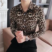 Camisa de alta calidad para hombre, ropa con estampado de leopardo, informal, manga larga, esmoquin de talla grande para Club nocturno y graduación