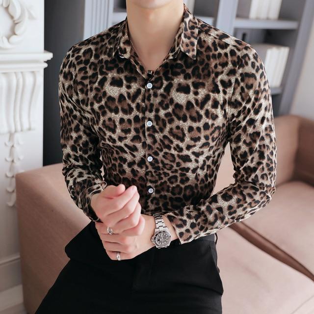 High Quality Men Shirt Brand New Slim Fit Casual Leopard Print Social Shirts Dress Long Sleeve Plus Size Night Club Prom Tuxedo