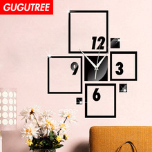 Decorate 3D number clock art wall mirror sticker decoration Decals mural painting Removable Decor Wallpaper LF-1894