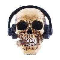 MRZOOT Resin Craft Statues For Decoration Skull Wearing Headphones Music Bar Decoration Creative Skull