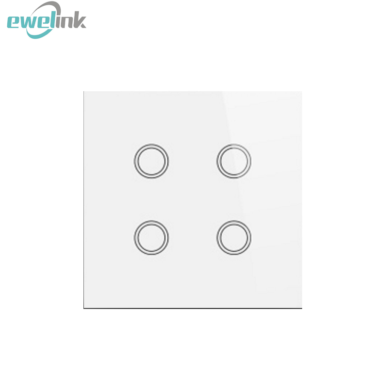 2017 New UK 4 gang Crystal pannel  RF433 Wireless Remote Touch Wall Light  bathroom switch   for Smart Home via Broadlink RM Pro 2017 smart home crystal glass panel wall switch wireless remote light switch us 1 gang wall light touch switch with controller