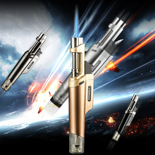 530 Yanzhen Creative Metal Straight-shape Straight-flame Inflatable Gas Torch Lighter With Fire-locking Windproof Wholesale