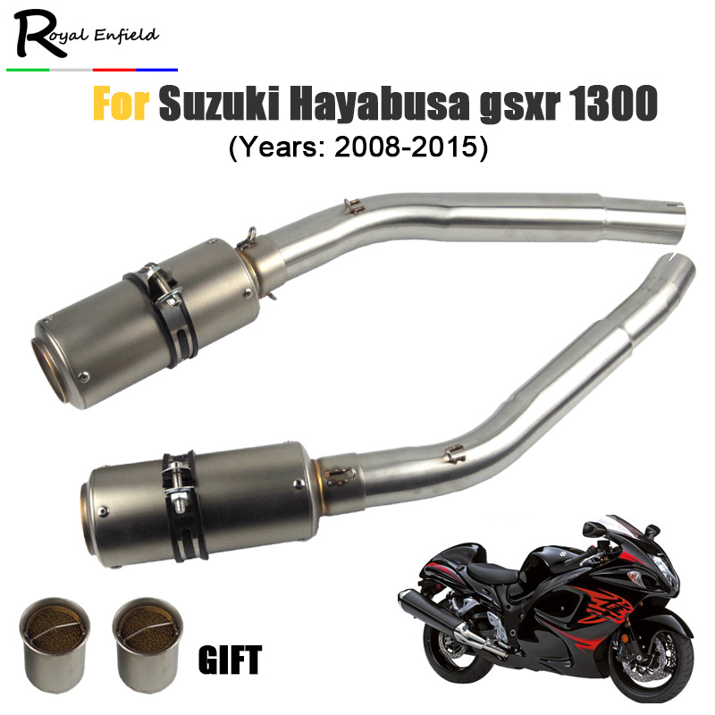 Motorcycle GSX1300R Exhaust Slip On Connector Link Pipe For Suzuki Hayabusa GSXR1300 Modified Muffler Middle Pipe 2008-2015 Year motorcycle muffler stainless steel exhaust motorcycle muffler exhaust pipe for suzuki hayabusa gsxr1300 gsx650f gsf650 bandit