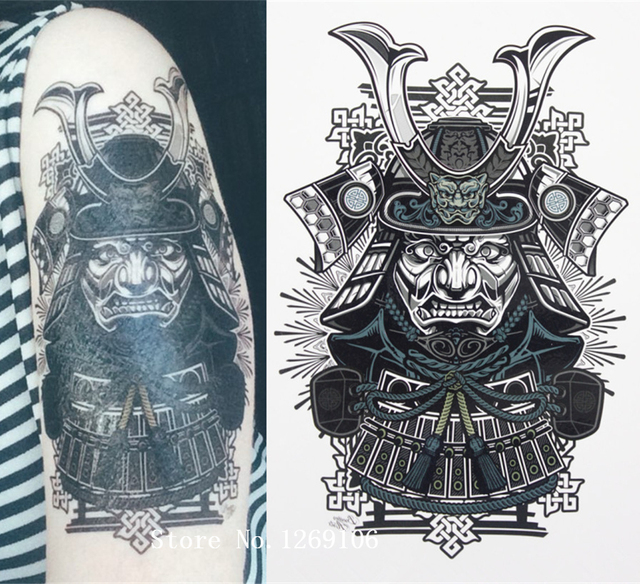 Classical japanese samurai warrior tattoo 21 x 15 cm sized sexy cool beauty tattoo waterproof hot