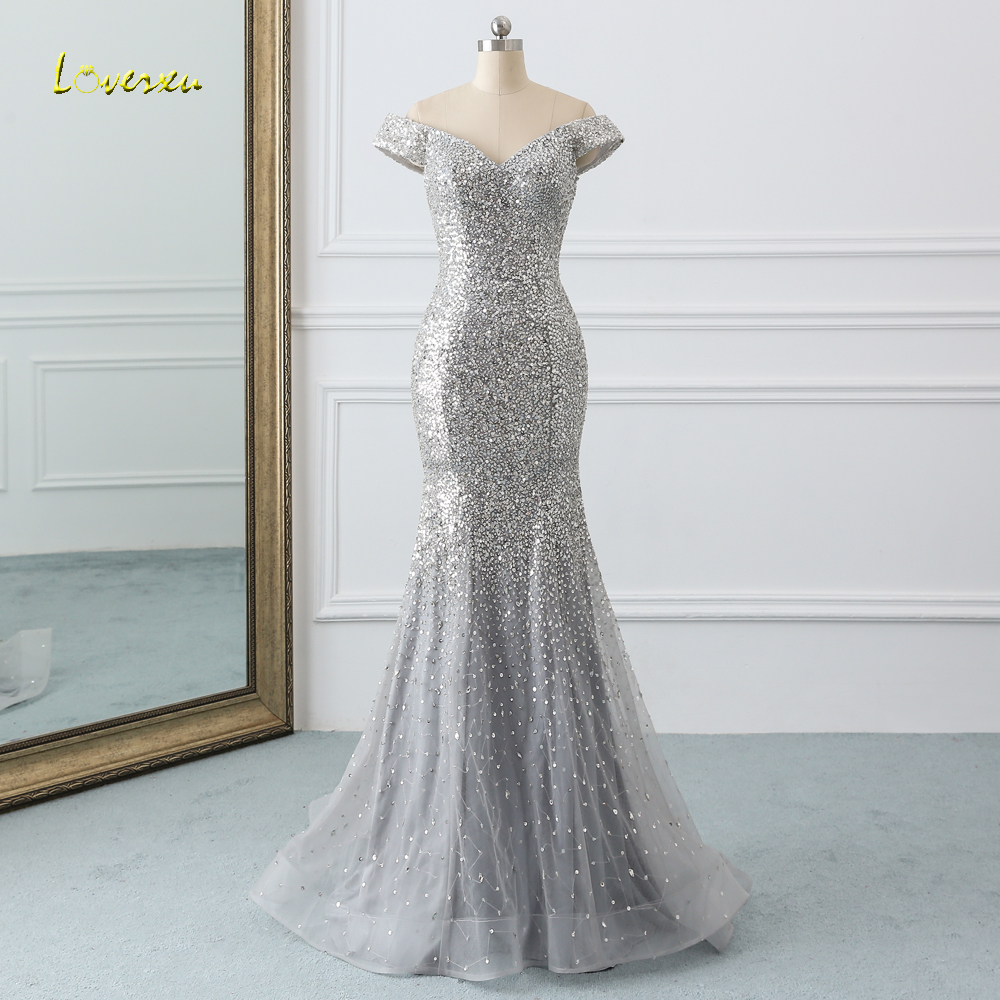 Loverxu Sexy Sweetheart Long Mermaid   Prom     Dresses   2019 Luxury Beaded Crystal Sequined Vintage   Dress   for Party Vestido De Festa