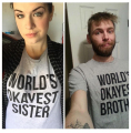 Best Matching t shirt brand men/women Graphic Harajuku Shirts World's Okayest Brother Sister Dad Mum Husband Boyfriend Girlfiend