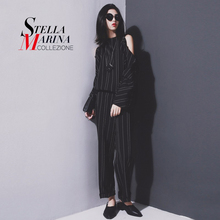 New 2016 European Woman Autumn Black Striped Jumpsuit Long Sleeve Open Shoulders O-Neck Zipper Button Pants Overall Style U1007