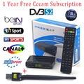 1 Ano Europa cline 1080 P FULL HD Suporte Cccam BISS chave Powervu Receptor DVB-S2 Decodificador Receptor de Satélite Freesat V7 + USB WI-FI