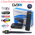 1 Year Cccam Europe cline 1080P FULL HD Support BISS Key Powervu DVB-S2 Receptor Decoder Freesat V7 Satellite Receiver +USB WIFI