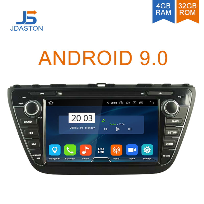 JDASTON 2DIN Android 9.0 lecteur DVD de voiture pour Suzuki SX4 s-cross 2013 2014 2015 2016 multimédia GPS Radio stéréo 4G + 32G Octa cœurs