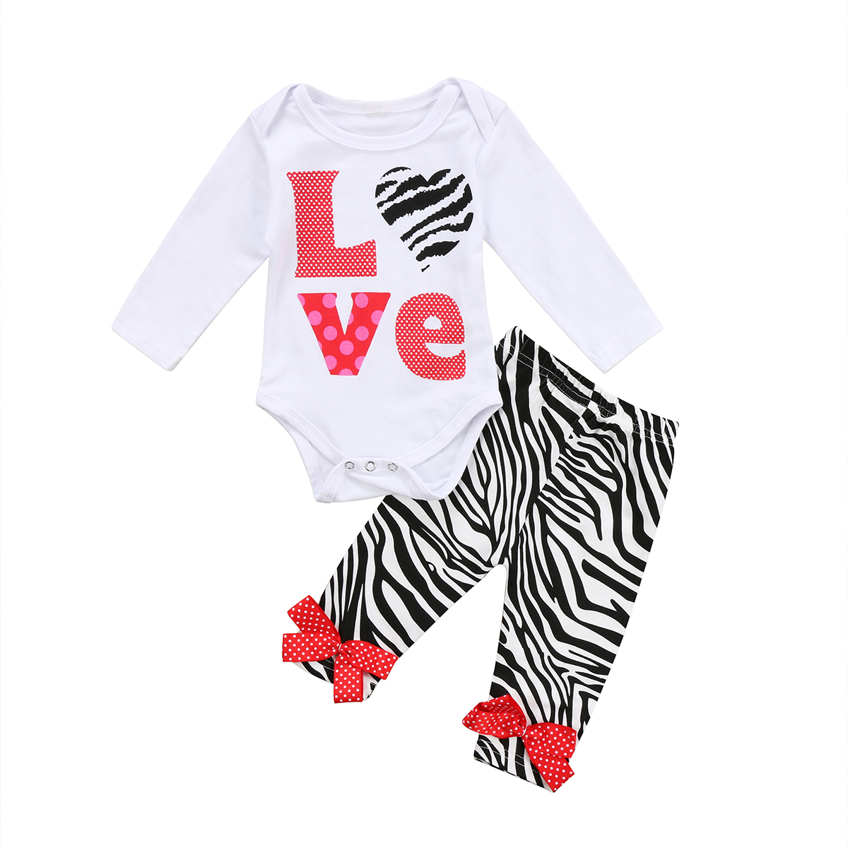 Pudcoco Cute Toddler Infant Baby Girls Clothes Cotton Long Sleeve O-Neck Bodysuit Striped Pants Outfits Set 0-24 Months Helen115