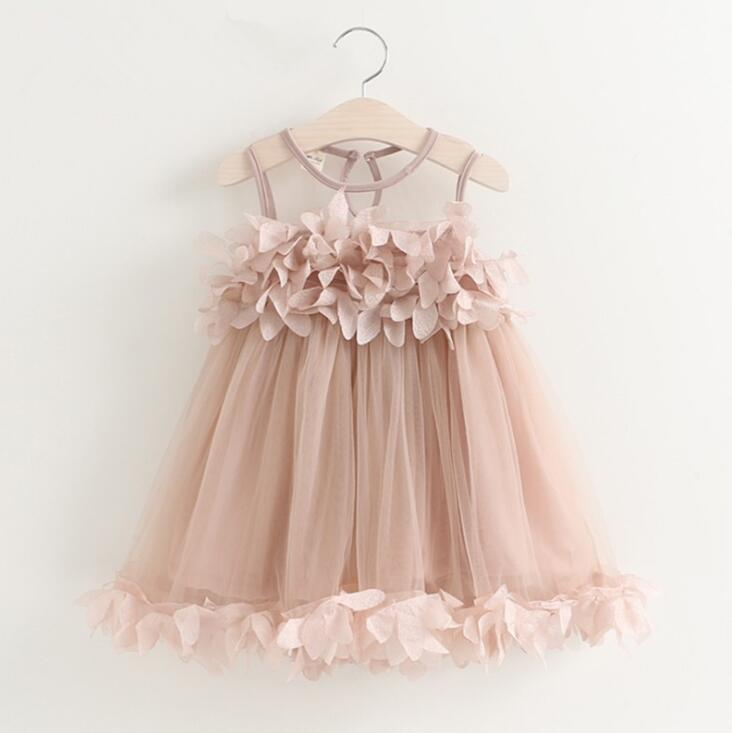 Girls Dress Children Wedding Party Dresses Kids Pink Applique Evening Ball Gowns Formal Baby Frocks Summer Clothes