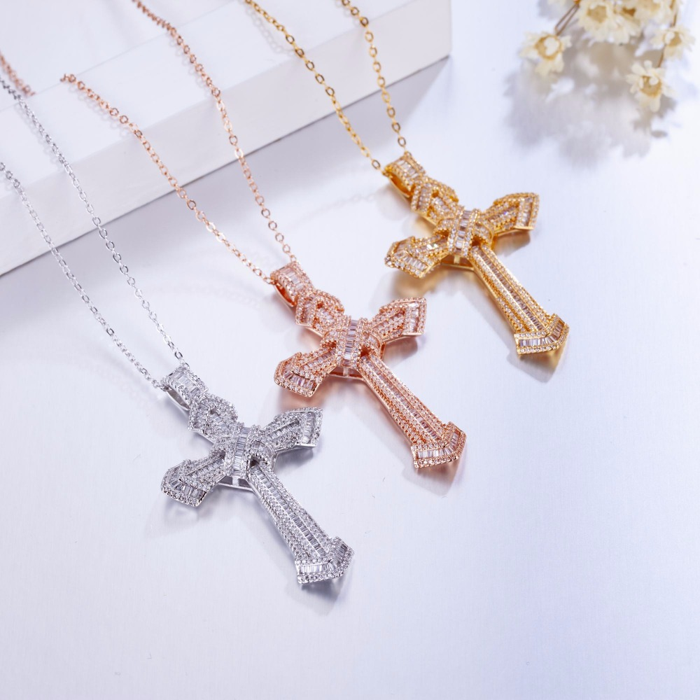 Luxury Jewelry Christianity Cross Pendants sona diamond painting full Real 925 Sterling silver Hip hop Necklace For women men