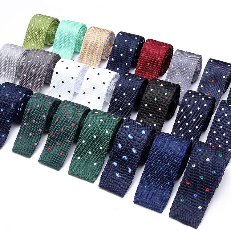56 Colors Men's Suits Knit Tie Plain Necktie For Wedding Party Tuxedo Casual Dots Embroider Skinny Gravatas Cravats Accessorie