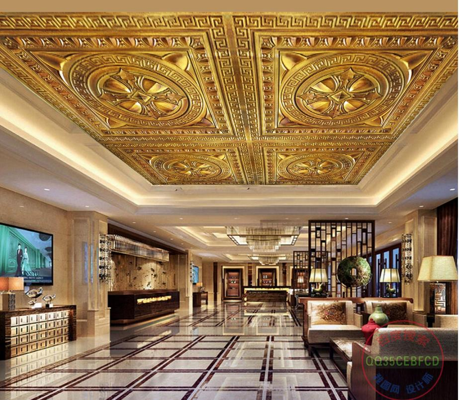 Gold Wallpaper Bedroom Ceiling Murals Wallpaper Embossed Pattern For Living Room 3D Photo Wallpaper Mural Ceiling 3D