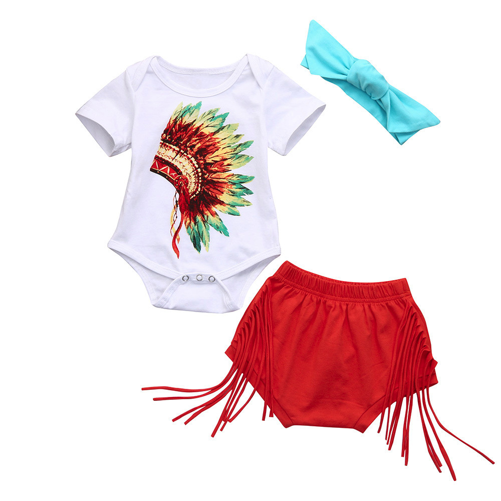 3Pcs Newborn Infant Baby Indian Print Romper Shorts Headband floral girls suit newborn baby girl clothes Outfits Clothes Set