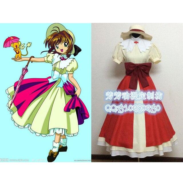 2016 Аниме Cardcaptor Sakura Косплей Kinomoto Борьбе Равномерное Платье Костюмы