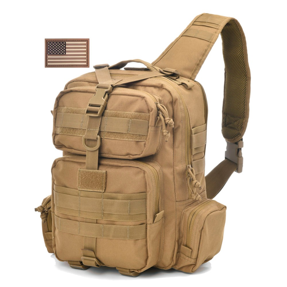 REEBOW TACTICAL Military Sling Bag Rover Shoulder Molle Assault Range Pack Everyday Carry Bag Day Pack with USA Flag usa flag print crop tee