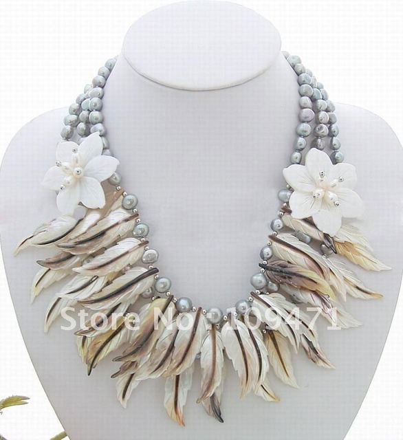 Charming! 3Strds Grey Pearl&Shell Necklace