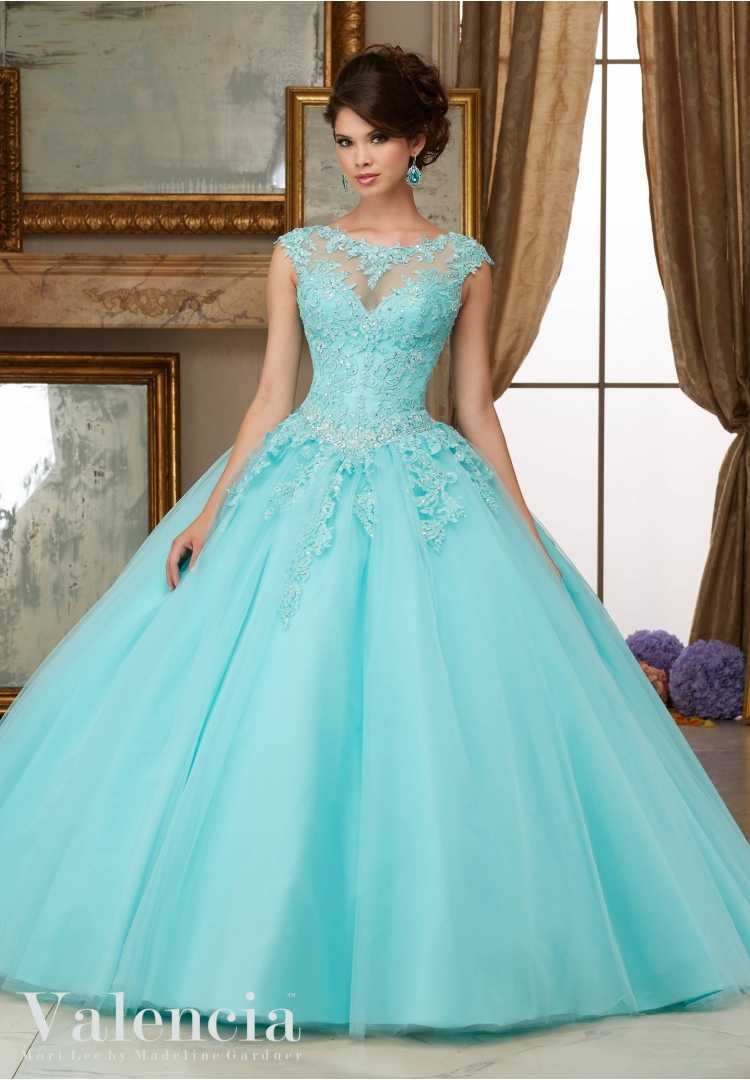 Simple Aqua Quinceanera Dresses Cheap High neck Lace Appliqued Dress For 15 year Party Gown