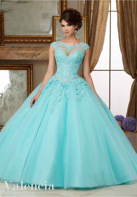 5f75403136a Simple Aqua Quinceanera Dresses Cheap High neck Lace Appliqued Dress For 15  year Party Gown