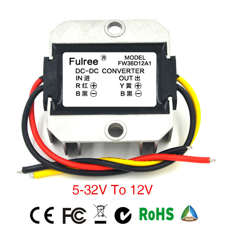 Power Supply Converter DC/DC Step-down 5-32V to 12V 1A2A3A Waterproof Control Car Module Low Heat Auto Protection Size66*57*22mm ac dc step down converter module for vehicle char module 24v to 12v 8a waterproof control car module low heat auto protection
