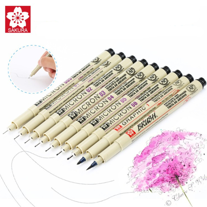 9 pcs/set Sakura Pigma Micron Pen Neelde Soft Brush Drawing Pen lot 005 01 02 03 04 05 08 1.0 Brush Art Markers rak dinding minimalis diy