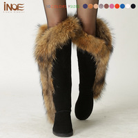 Real fox fur cow suede leather long winter snow boots for women over the knee boots flats party shoes lady motorcycle boots