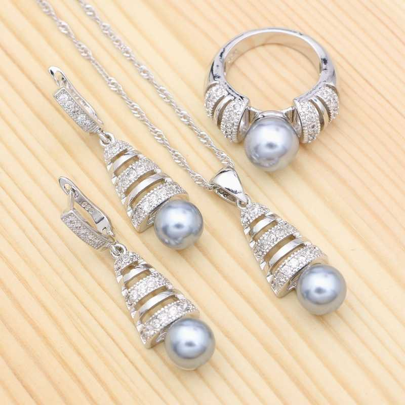 Grey Pearl White Cubic Zirconia 925 Silver Jewelry Set For Women Party Accessories Earrings Ring Pendant Necklace Kit